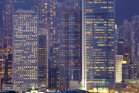 business buildings at night in Hong Kong photo
