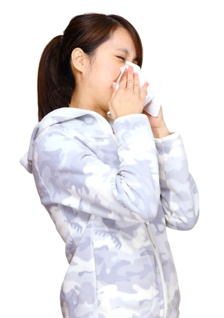sneeze asian young girl photo
