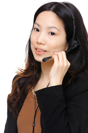 asian woman wearing headset Stock Photo - 12990176