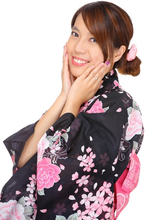 Japanese woman with traditional clothing photo