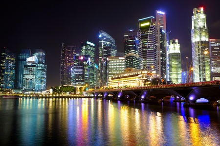 bay: Singapore cityscape at night