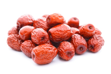 jujube fruits: red date on white