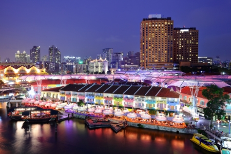 quayside: Singapore city at night Stock Photo