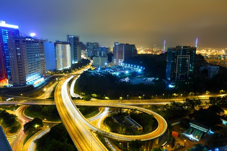 Highway at night in modern city Stock Photo - 13336708