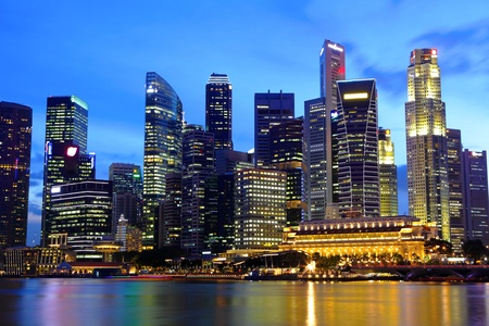 Singapore cityscape at night Stock Photo - 13336715