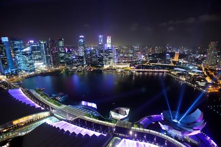 jachthaven: Singapore bij nacht