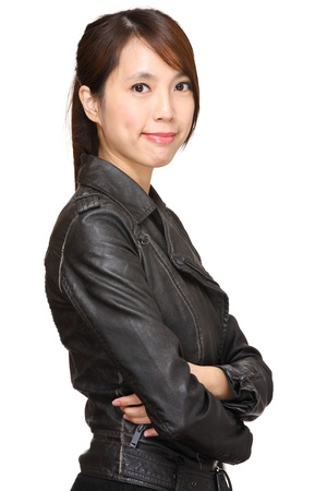 young asian woman over white background photo