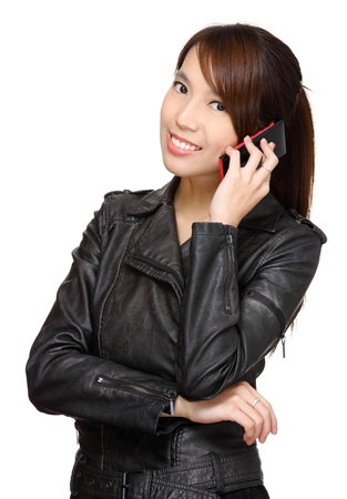 asian young woman talking on phone photo