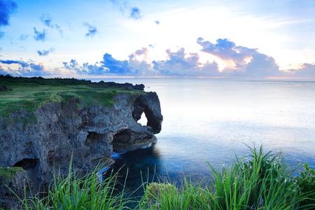 okinawa: sunset on the rocks , in Okinawa , Manzamo