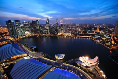 singapore city: Singapore cityscape at night
