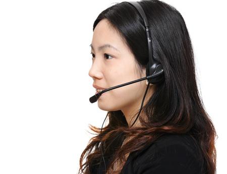 asian woman wearing headset photo
