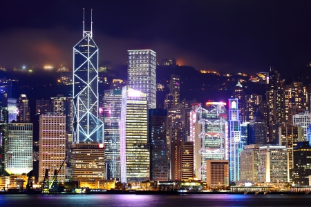 hong kong harbour: Hong Kong cityscape at night Stock Photo