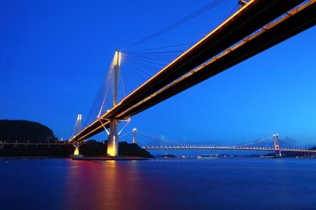 Ting Kau Bridge and Tsing ma Bridge at evening, in Hong Kong