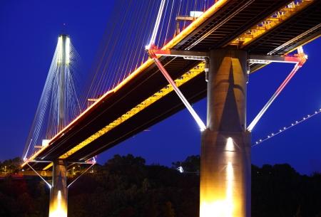 Ting Kau Bridge in Hong Kong at night photo