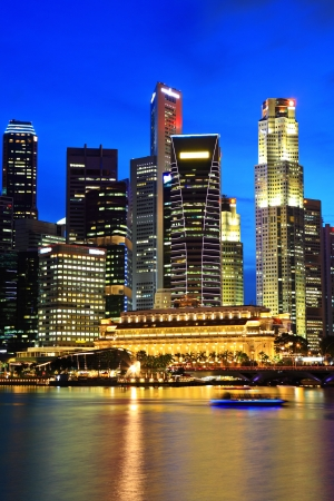 financial district: Singapore city skyline at night Editorial