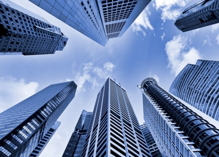 view from below: Skyscrapers in blue tone