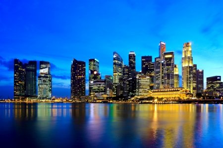 Singapore city skyline at night Stock Photo