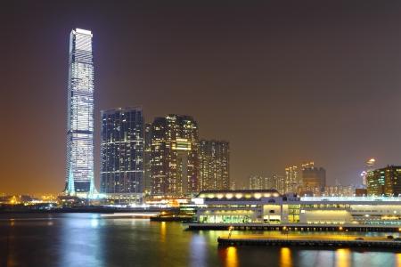 kong river: kowloon at night Stock Photo