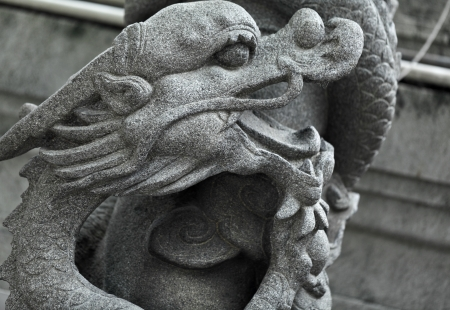 chinese dragon statue in temple photo