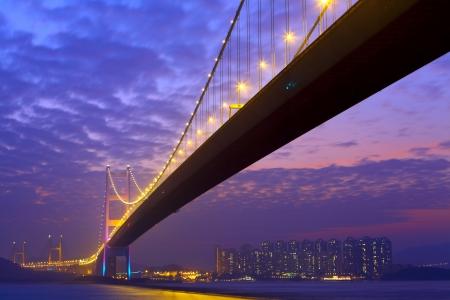 Tsing Ma Bridge at night photo