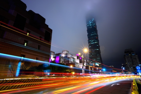 night with lights of traffic in Taipei photo