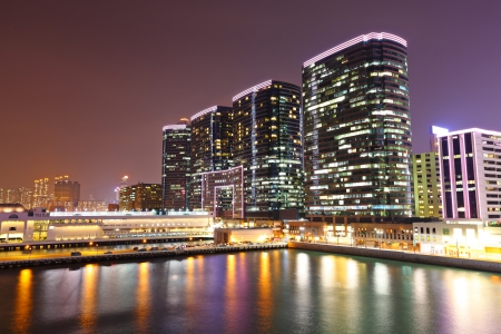 office buildings at sea coast at night
