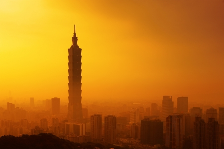 Taipei in sunset photo