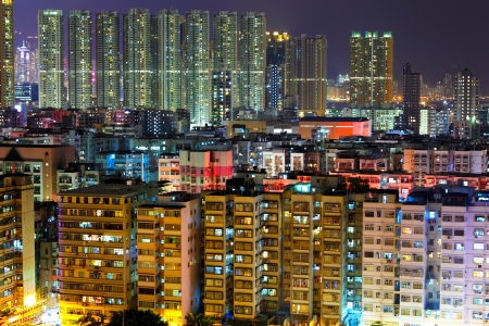 Hong Kong urban at night photo