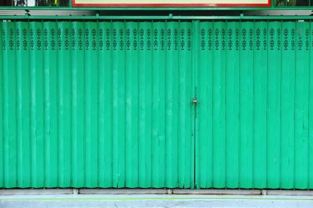 green metallic door Stock Photo - 15309021