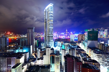 futuristic city: downtown in Hong Kong view from high at night
