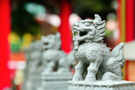 Chinese lion statue photo