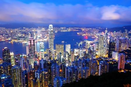 Hong Kong at night Standard-Bild