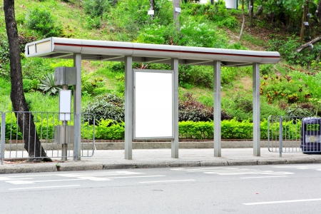 blank advertising billboard on bus stop photo