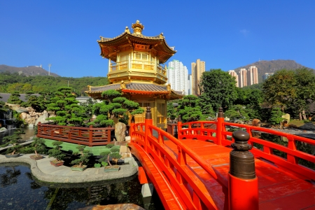 gold pavilion in chinese garden photo