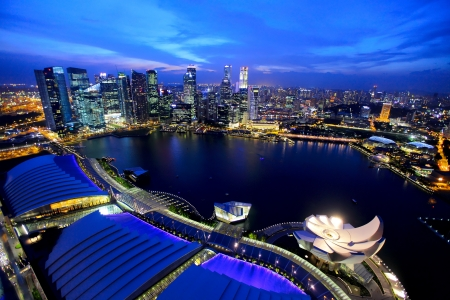 southeast asia: Singapore city at night Stock Photo