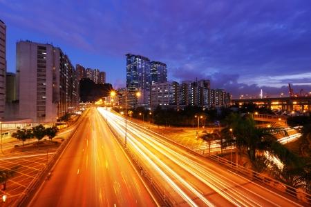 traffic in Hong Kong at night photo