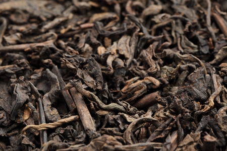 Black tea loose dried tea leaves photo