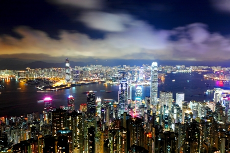 city by night: Hong Kong city at night Stock Photo