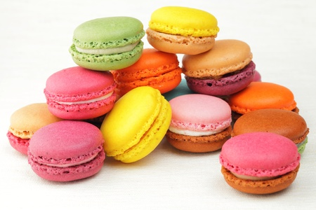 colorful French macaroons photo