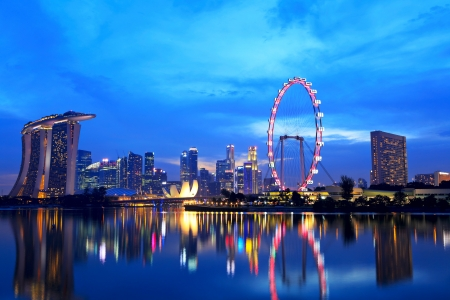 Singapore city skyline at night Editorial