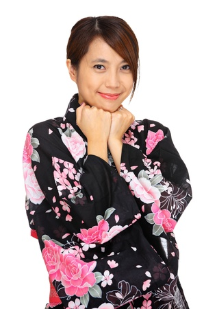 young woman wearing Japanese kimono photo
