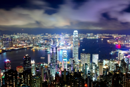 futuristic city: Hong Kong downtown at night