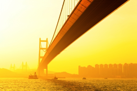 tsing ma bridge at sunset photo