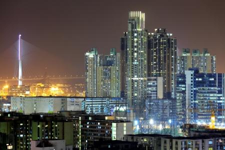 downtown in Hong Kong at night photo