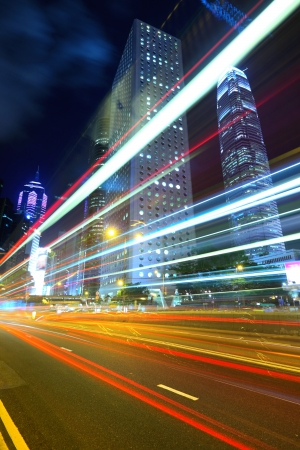Hong Kong night view with car light photo