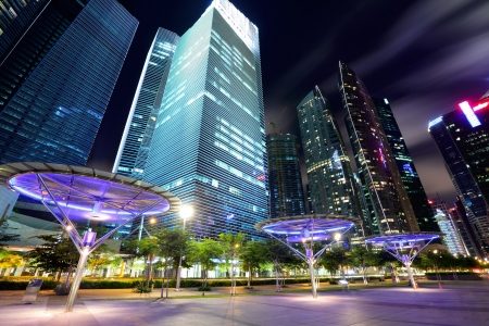 financial district: Singapore City at dusk Stock Photo