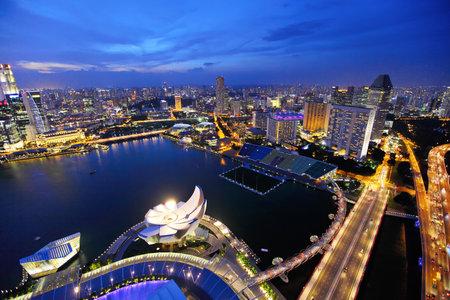 Singapore city skyline at night Stock Photo - 16019838