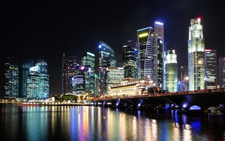 Singapore city at night Stock Photo - 16110420