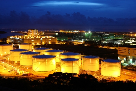 Oil tanks at night photo