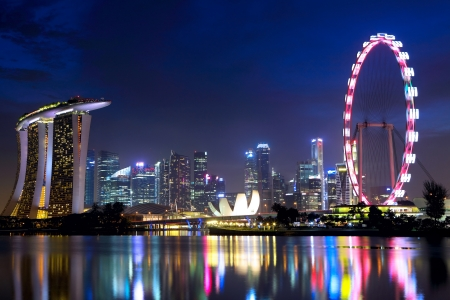 merlion: Singapore cityscape at night